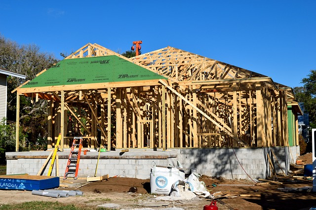 new build house construction and framework